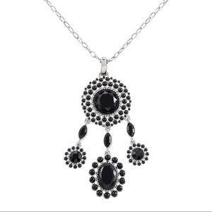 WHBM Jet Cabochon Circle Drop Pendant Necklace